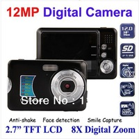 Free shipping,  12Mp max resolution fashion digital camera with 5MP CMOS sensor, 8 x digital zoom and 2.7 inch screen