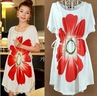2014 New Loose plus size maternity clothing flower long design top T-shirt short-sleeve dress one-piece dress