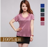 Silk knitted 100% silk low o-neck women's T-shirt chromophous short-sleeve