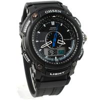 Heat !!! Free Shipping OHSEN Waterproof Alarm Digital Analog Mens Sports Watch Black AD1209-1
