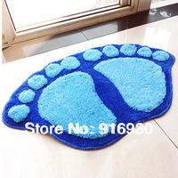 flock printing big feet mats waste-absorbing slip-resistant bath mat double feet doormat mat ZF026