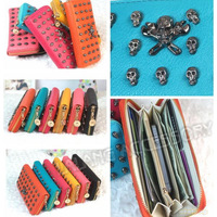 1 piece/lot Women's Fashion Purse PU Leather +Metal Clutch Wallets Free Shipping Skull Handbag Wallets 6 Colors 640187