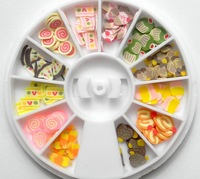Free shipping 100wheels 3D Mix Fimo Clay Slice  wheel for Nail Art Tips