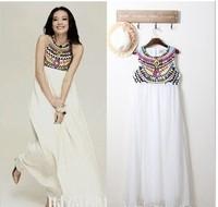 2013 European fashion chiffon long dress,Embroidery and printing beach dress,big szie plus szie long elegant gowns,Free shipping