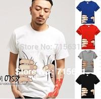 Plus Size M-4XL Personalized Fist Patterned 100% Cotton Men Top Short-Sleeve T-Shirt Quality Gurantee Big Hand Men T-shirt