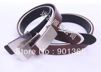 Classic men's PU flat casual smooth buckle belt male belt