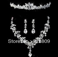 2013 New style 100% guaranteed silver  top crystal brial jewelry sets free shipping wedding jewelry