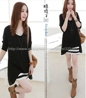 2013 Women Girls Spring Summer O-Neck Stripped Dress+ Long Sleeve Black Chiffon 0061
