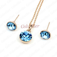 Italina Rigant Necklace and Earring Free Shipping 18K Gold Plated Austrian Crystal Jewelry Set Necklace and Earring