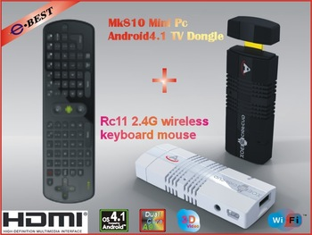 MK810 Android 4.1.2 Mini PC TV Stick Amlogic AML8726_MX 1.6GHz Cortex A9 Dual core 1GB RAM 4GB 3D TV Box+Air mouse RC11