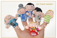 2013 Baby Plush Toy,Finger Puppets,Talking Props(6 family group) 6pcs/lot