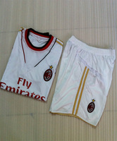 Free Shipping AC Milan White 2013-2014 New Season Socer Jerseys With Short  Embroidery logo uniforms football Kits