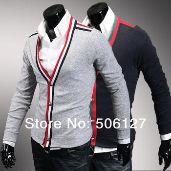 Free shipping 2014 spring fashion multi colour ribbon men cardigan sweater sanded wool velvet men slim sweater