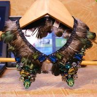 Freeshipping 2013 Autumn Fashion Luxury Crystal Gem Feather Beaded Shirt Doll False Collar Fake Necklace For Women Wholesale