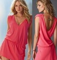 Women Bikini Dress Beach Wear Stretch Cotton Holiday Dress V Neck Solid Beading Sleeveless Swimsuit Cover-Up (Always Stock)