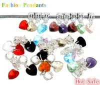 Fashion Romantic 50 Mixed Silver Plated Heart Crystal Dangle Pandants Fit Charm Bracelet & Necklace Fit Women