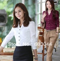 2013 FASHION NEW WOMEN`S SHORT SLIM BLOUSE LONG SLEEVE OFFICE LADIES COTTON BLOUSE SHIRT V-NECK CPAM SHIPPING(1PC) C357