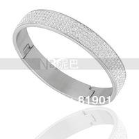 Free Shipping Wholesale Price Clear Color Crystal Custom Jewelry Stainless Steel Bangles