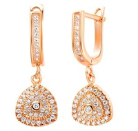 New arrival ! fashion jewelry 18k gold / platinum plated zircon triangle earrings  GJW-324