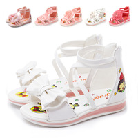Free Shipping New Summer Fashion Cute Bow Glisten PU Leather Princess Children Kid Girl Sandals Flip Flops Casual Beach Shoes