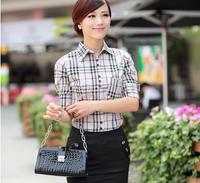 2014 Fashion short Sleeve women blouse shirt,Lattice shirts,Single Breasted tops cotton Dress blouse