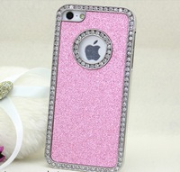 Free shipping!!Many Colors Bling Glitter Rhinestone Diamond Crystal Chrome Case Cover For iPhone 5 5G