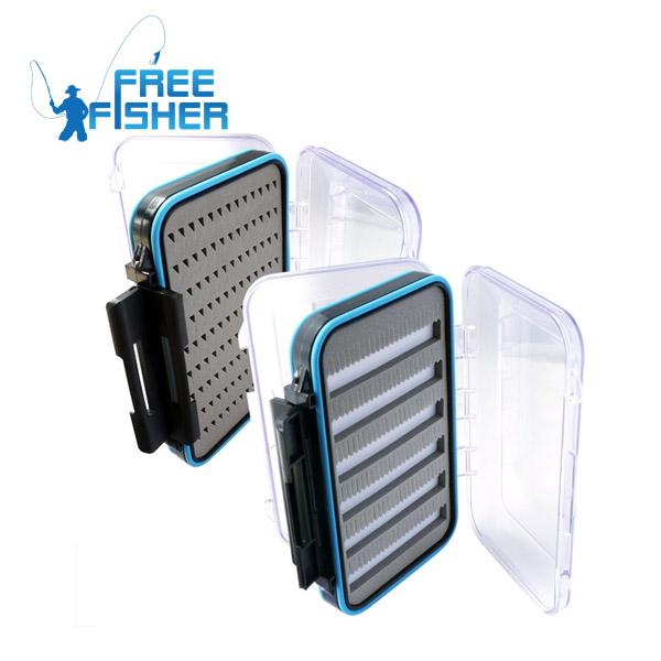 2pcs/Lot Transparent Double-Layers Plastic Fishing Storage Box Waterproof Fly Fishing Box Fishing Tackle Boxes(China (Mainland))