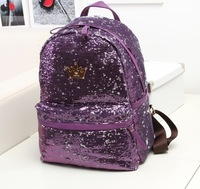 2014 women backpack female bags double sided paillette backpack student school bag female casual bags free shipping