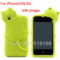 Cute 3D Cat With Plugger Silicone Soft Back Case For iPhone3 3S 3G