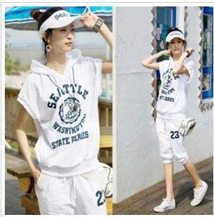 2014 plus size sports suits Women short-sleeve letter hoodie+ short pants women's t-shirt sport clothes tracksuit XXXL C075