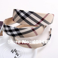 3 Sizes Fashion Plaid Headband All-match Women Head band Hair band Hair Accessories 12pcs/lot Free Shipping Many Countries