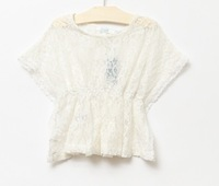 2013 summer new fashion female child elegant top lace Waist small Cape girls princess T-shirt  knitting blouse