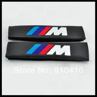 carbon fibre seatbelt shoulder pads, car seat belt shoulder strap M M-Power badge electronic embroidery