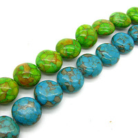 Green & Blue Natural Turquoise  Cabochon Loose Spacer Beads Jewelry Charms 8mm 10mm 12mm 14mm 16mm 20mm 22mm