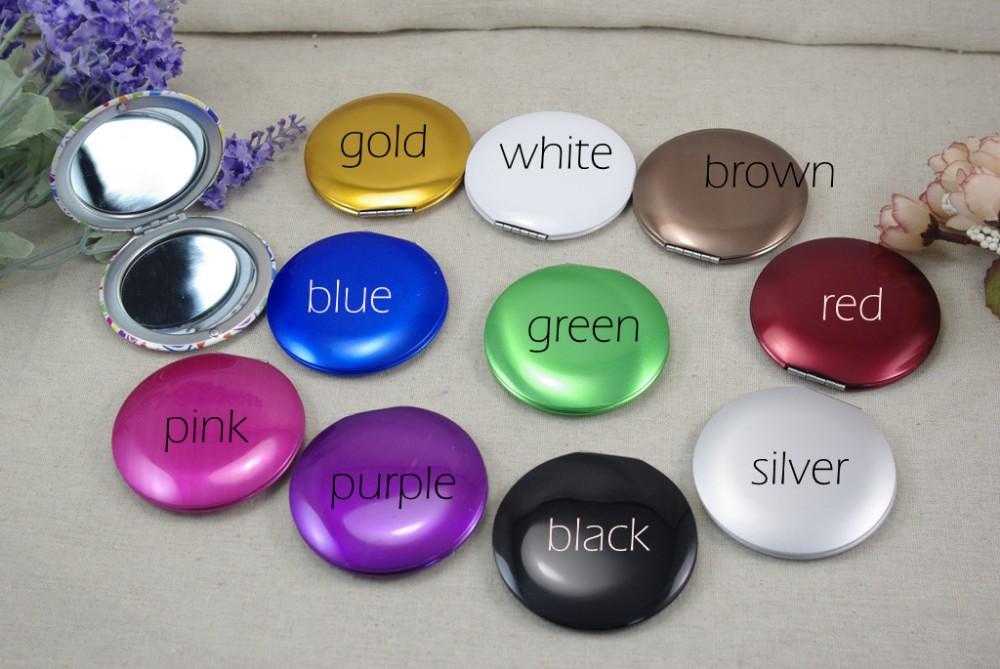 logo personalizzato metallo alluminio specchio cosmetico promozione regalo di moda specchio per il trucco