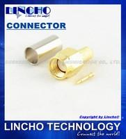 50 pcs RF rg142 rg141 lmr195 cable connector sma male rg58, rg58 cable male connector sma gold