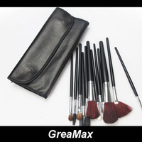 12pcs Professional Cosmetic Make Up Makeup Brush Blush Eyeshadow Set Kit with Black Leather Case Free Shipping