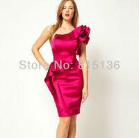 [SALE] Free shipping One Shoulder Satin Ruffle Dress Apricot, Purple