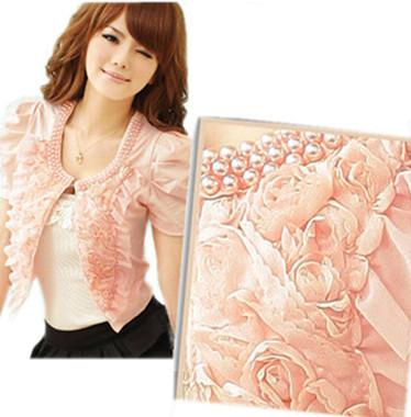 free shipping 2014 autumn women clothing new fashion pink black white puff sleeve casual slim jacket short cardigan coat 056(China (Mainland))