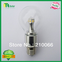 LED bulb 6w AC100-270V E14/E27 Lamp shade with clear milky glass cover babble ball bulb living room ce Free shipping 6 pcs/lot