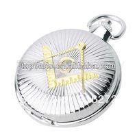 Topearl Jewelry Freemasonry Masonic Quartz Pocket Watch Silvery Tone LPW283