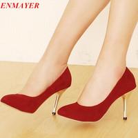 ENMAYER New 2015 Hot!  high heel shoes quality dress  fashion women's sexy heels Wedding High Heels Women Platform pumps