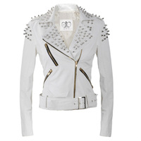 THOOO Brand Women Rock White Punk Rivets Studded Blazer Coat PU Leather Motorcycle Moto Jacket THOOO