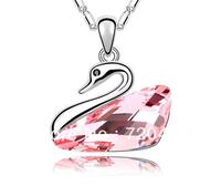 2014 fashion Swan lake crystal lized pendant necklace