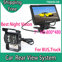 """Car Rear View Camera System 120 degree 17pcs LED IR Night Vision for Bus Truck with 7"""" LCD Monitor HD 800 x 480 with AV1 AV2"""