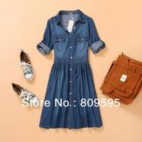 free shipping, Fashion summer slim jeans denim dress women's thin denim dress XXL XXXL 4XL plus size