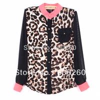 Holiday Sale New Fashion Women Chiffon Top Blouse Long Sleeve Leopard Shirt  Free shipping5311