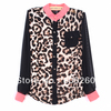 Holiday Sale New Fashion Women Chiffon Top Blouse Long Sleeve Leopard Shirt  Free shipping5311