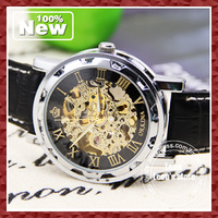 DHL EMS Free Shipping 2013 Latest Men Skeleton Wristwatch Black Leather Strap  Mechanical Watch Wholesale Free Shipping