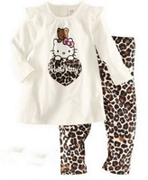 2013 New children christmas Pyjama Clothing Sets long sleeve T-shirt Leopard pants clothes set girls Blouse Sleep Wear Pajamas